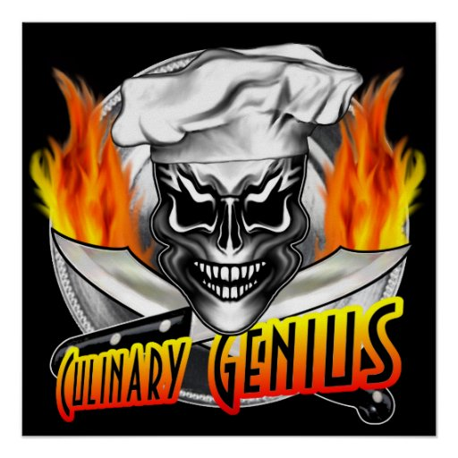 Chef Skull Poster: Culinary Genius
