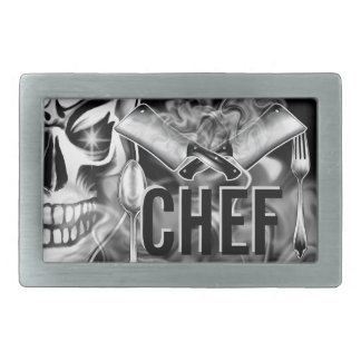 Chef Skull: Smoking Cleavers Rectangular Belt Buckle