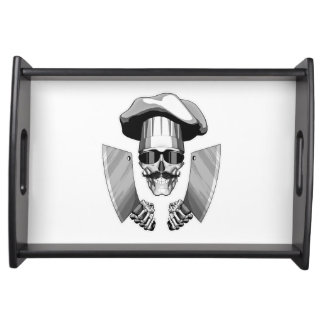 Chef Skull with Butcher Knives Serving Trays