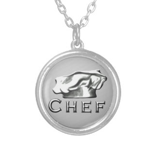 Chef Toque Silver Plated Necklace