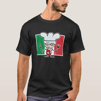 Chef tshirt with italian flag and cool cartoon