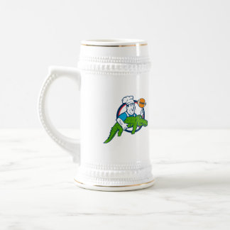 Chef Twirling Football Carry Alligator Circle Retr Beer Stein