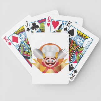 Chef with Banner Illustration Bicycle Playing Cards