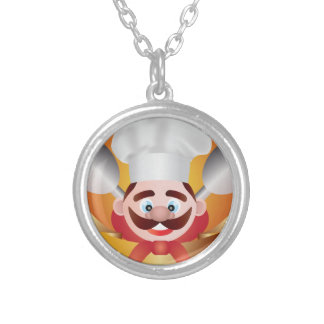 Chef with Banner Illustration Silver Plated Necklace