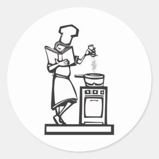 Chef with cookbook round sticker