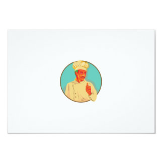 "Chef With Mustache Thumbs Up Circle WPA 3.5"" X 5"" Invitation Card"