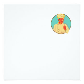 "Chef With Mustache Thumbs Up Circle WPA 5.25"" Square Invitation Card"