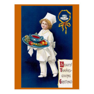 Chef with Tureen of Soup and Fruit Thanksgiving Postcard