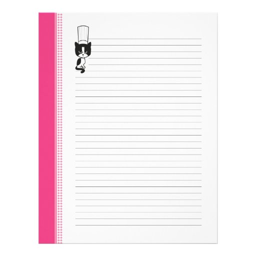 Chef's Cat Lined Recipe Pages Customized Letterhead