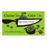 Chef's knife sliced onion chef cooking biz cards