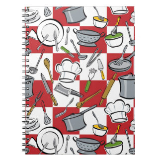 Chefs Tools Checkerboard Spiral Notebook