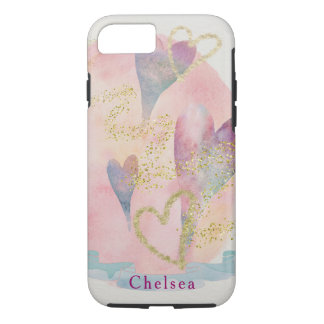 Chelsea Hearts and Gold Sprinkles iPhone 7 Case