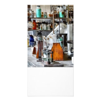 Chem Lab With Test Tubes And Retort Photo Card Template