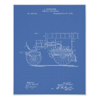 Chemical Fire Engine 1893 Patent Art Blueprint Poster
