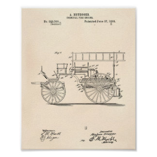 Chemical Fire Engine 1893 Patent Art Old Peper Poster