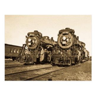 Chemin de fer vintage de locomotives de moteurs cartes postales
