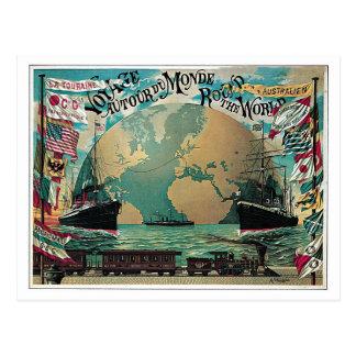 Chemin de fer vintage et annonce de carte du monde carte postale