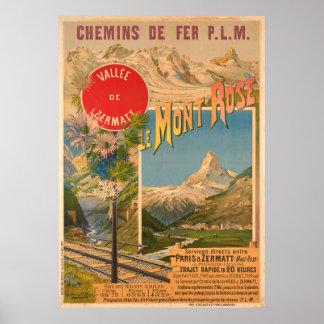 Chemins de fer P.L.M Le Mont Rose Vallee de Poster