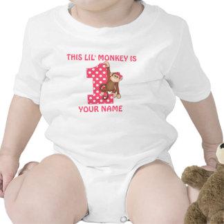Chemise d'anniversaire de fille de singe de Lil pr Barboteuses