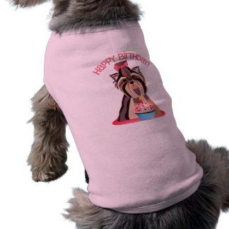 Chemise de Yorkie de joyeux anniversaire pour des  Vêtements Pour Animaux Domestiques