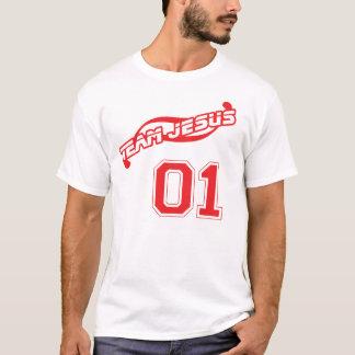 Chemise unisexe rouge de Jésus d'équipe (plus de T-shirt