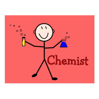 Chemist Gifts-Stick Person With Test Tubes Postcard