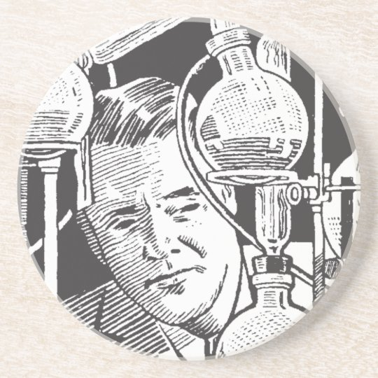 Chemist in Black and White Coaster