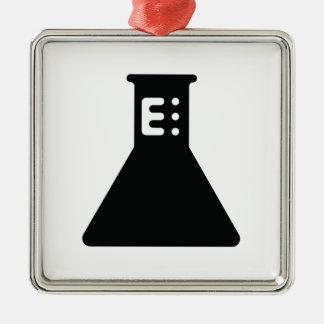 Chemistry Beaker Silver-Colored Square Ornament