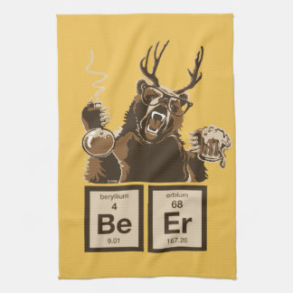 Chemistry bear discovered beer kitchen towel