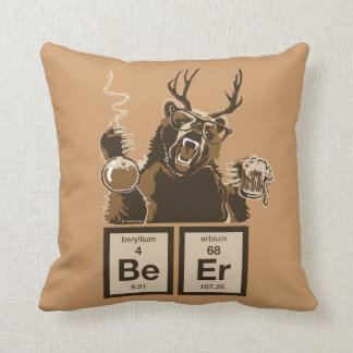 Chemistry bear discovered beer throw pillow