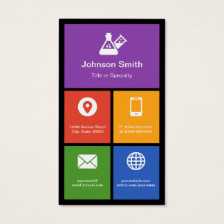 Chemistry Lab Laboratory - Colorful Tiles Creative Business Card