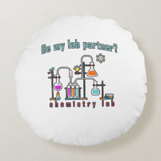 Chemistry lab round pillow