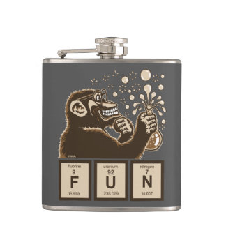 Chemistry monkey discovered fun hip flask