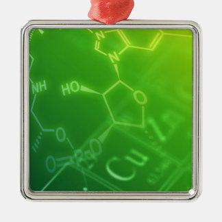 Chemistry Silver-Colored Square Ornament