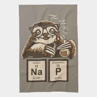 Chemistry sloth discovered nap kitchen towel