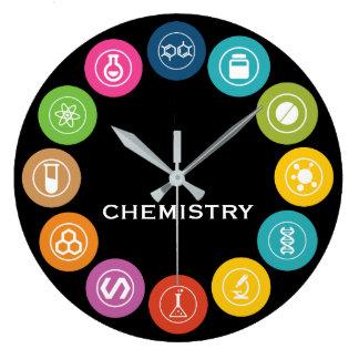 Chemistry Teacher Symbols Black Large Clock