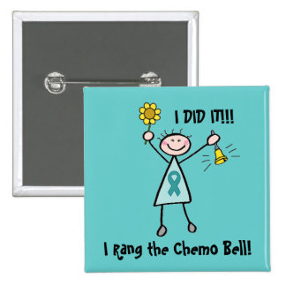 Chemo Bell - Ovarian Cancer Teal Ribbon 2 Inch Square Button