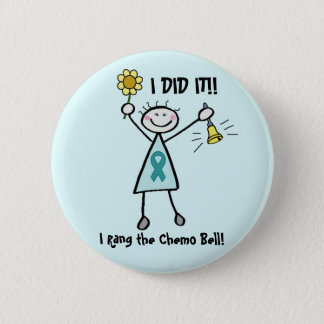 Chemo Bell Teal Ribbon Button