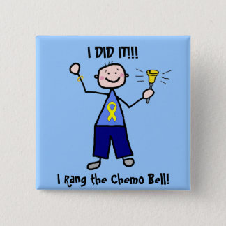 Chemo Bell - Yellow Ribbon Testicular Cancer 2 Inch Square Button