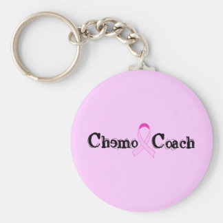 Chemo Coach - Pink Ribbon Breast Cancer Basic Round Button Keychain