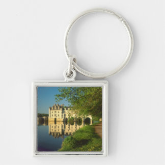 Chenonceau Chateau, Loire Valley, Silver-Colored Square Keychain