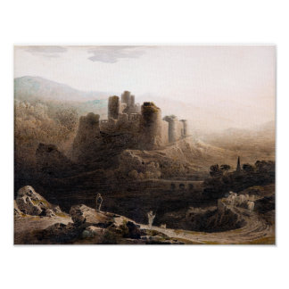 Chepstow Castle In The Moonlight Poster