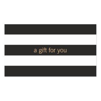 Chèque-cadeau rayé noir et blanc carte de visite standard