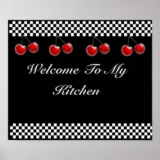 Chequerboard Cherries Kitchen Print