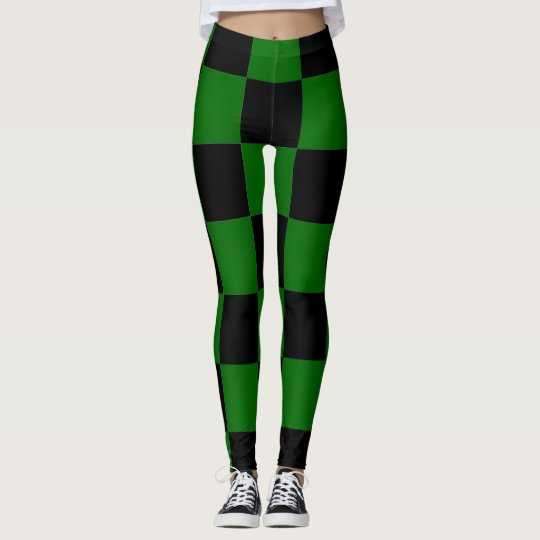 Chequerboard ~ Chess ~ Square Design Green & Black Leggings