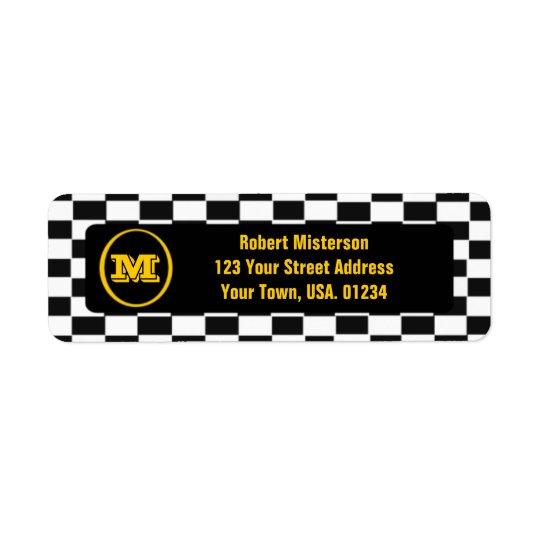 Chequerboard Monogrammed Return Address Labels