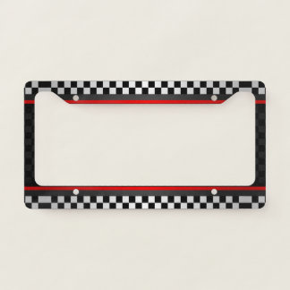 Chequered Auto Racing Design License Plate Frame