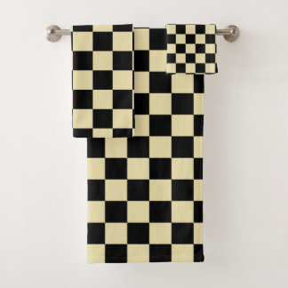 Chequered Beige and Black Bath Towel Set