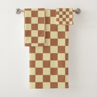 Chequered Beige and Brown Bath Towel Set
