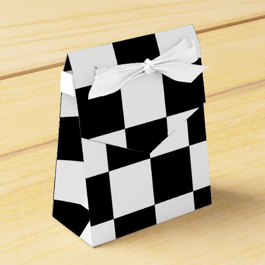 Chequered Black and White tent favour box